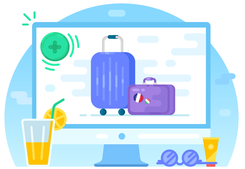 Computer showing luggages